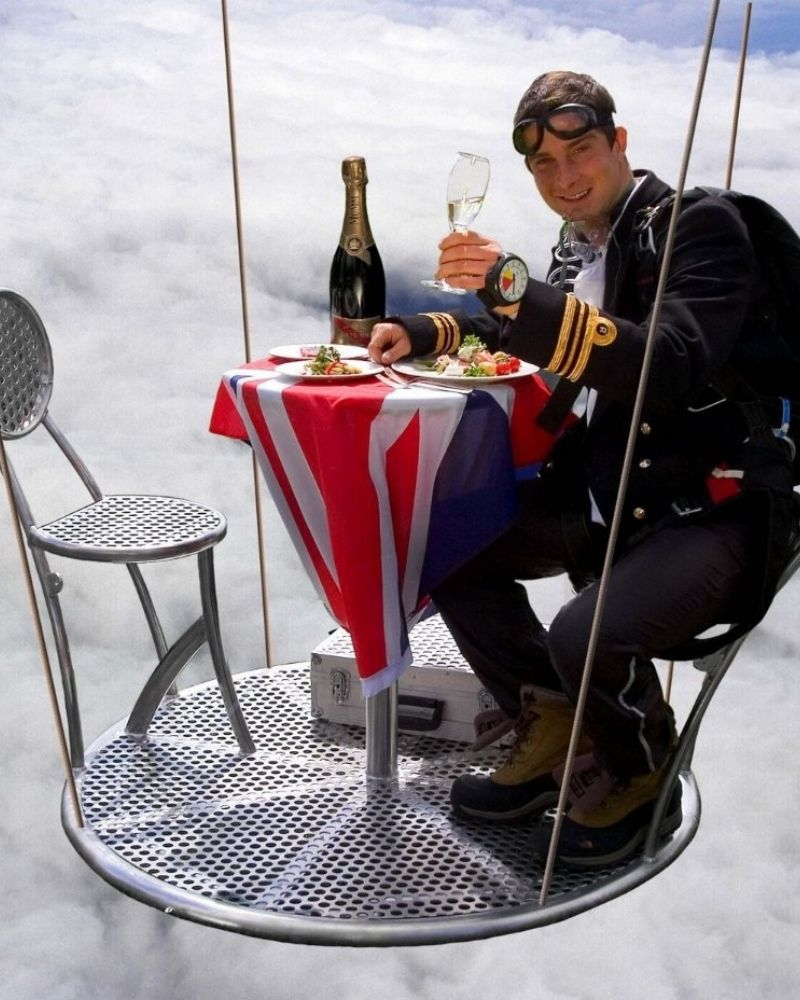 Bear Grylls holds a world record for hosting the highest dinner party